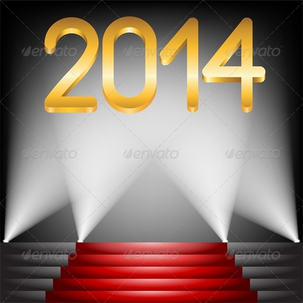 2014 Year Golden Figures on Red Carpet Stairs