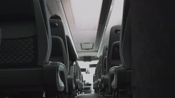 Just One Passenger Inside Intercity Bus Coach