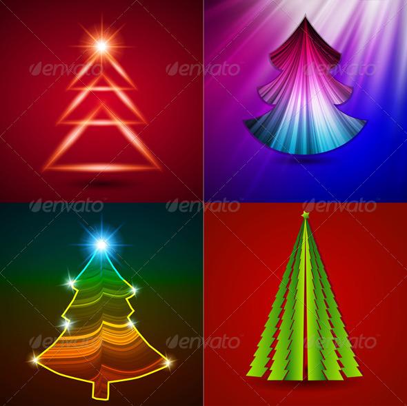 Vector Set - Decorative Christmas Trees