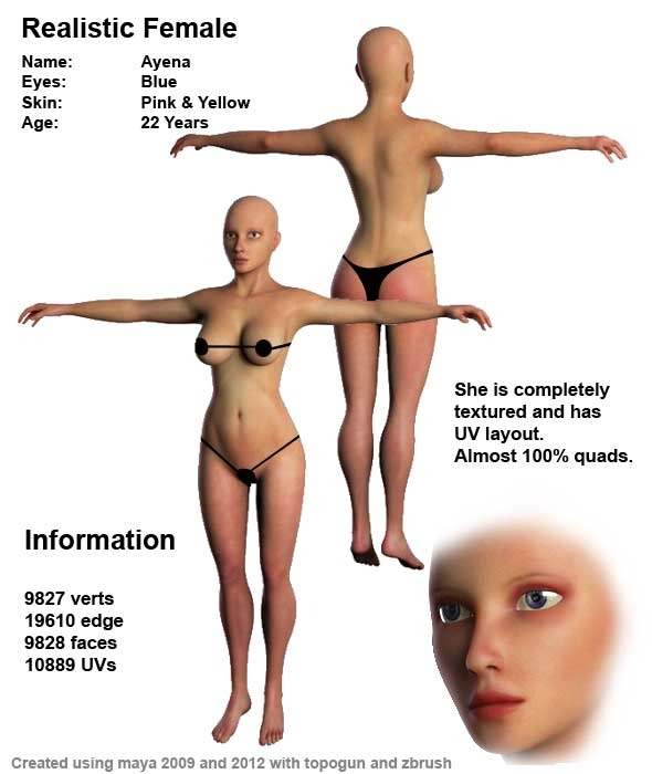 3D Female Human Models from 3DOcean