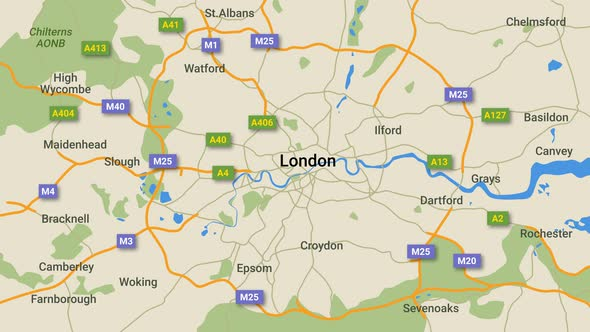 Animated map of London with route numbers