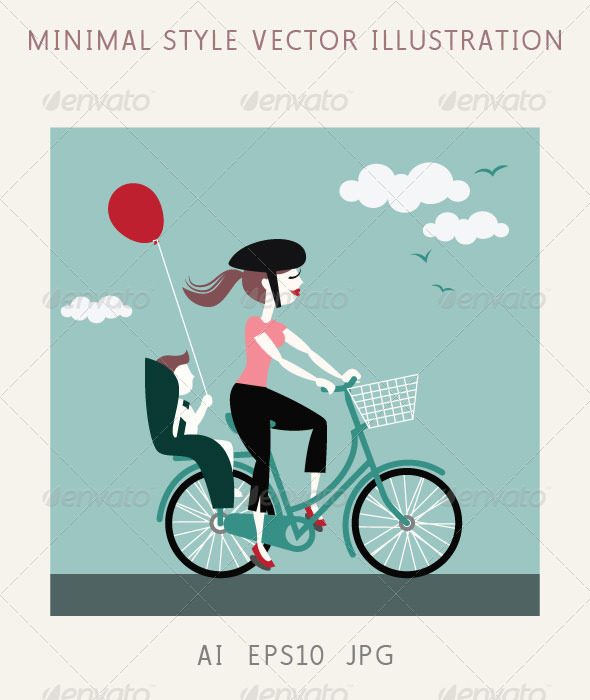 Mother with Baby Riding a Bicycle