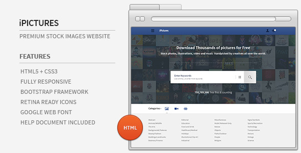 iPictures HTML Responsive Stock Image Website