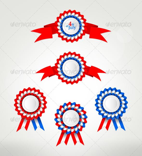 Various Award Badges Set with Ribbon