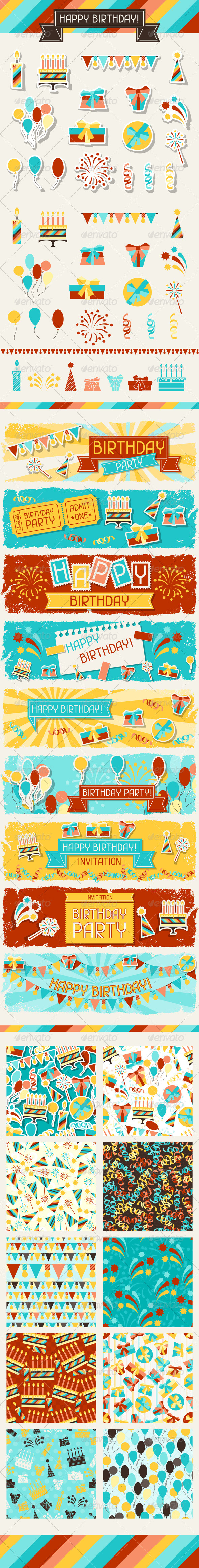 Happy Birthday Icons, Banners and Patterns