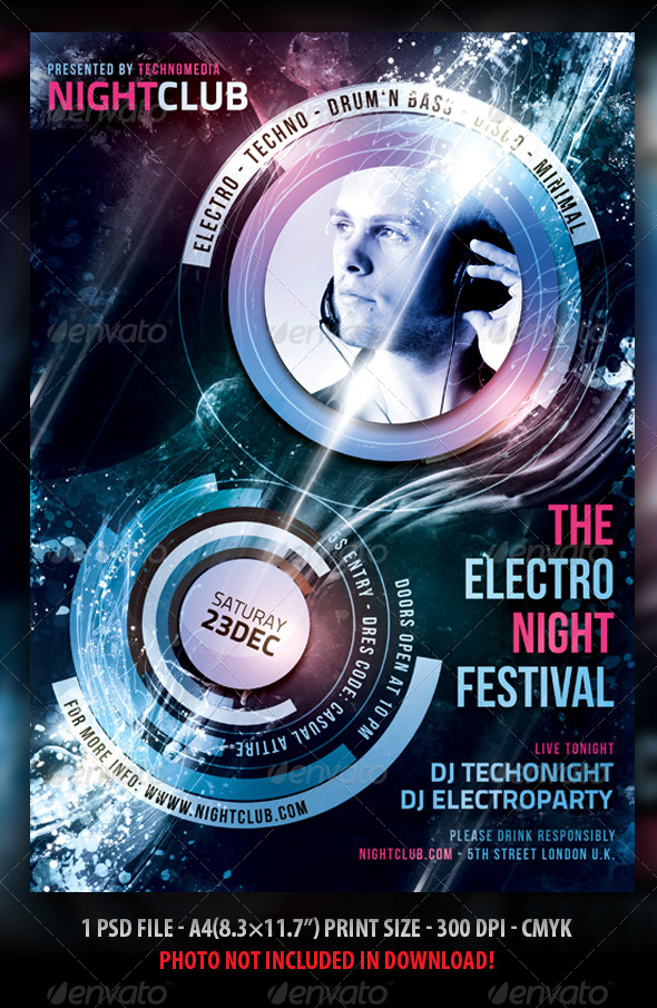 PSD and Techno Club & Party Flyer Templates from