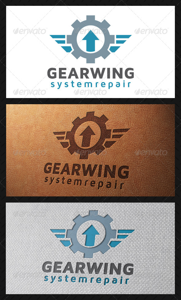 Gear Wings Crest Logo Template