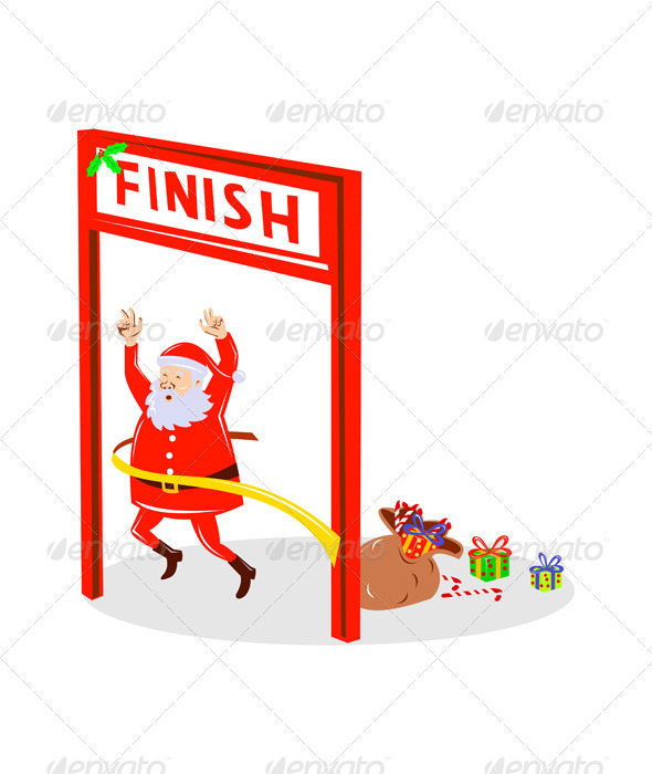 Santa Claus Marathon Race Cross Finish Line