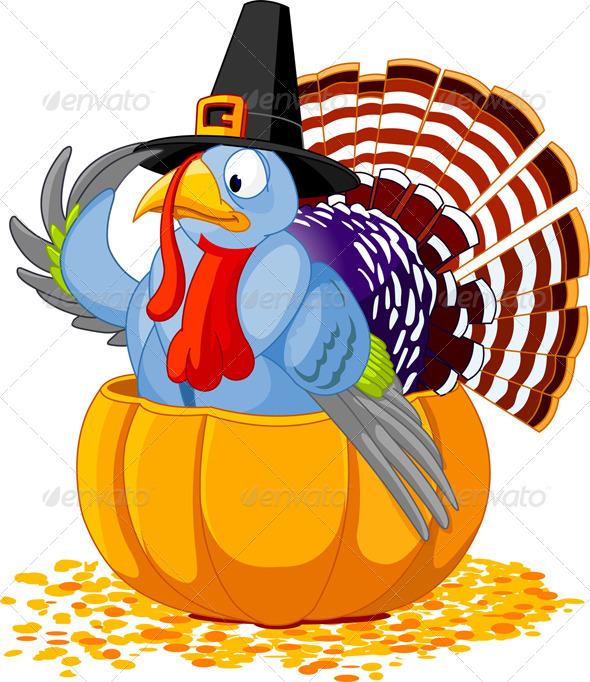 Pilgrim Turkey in Pumpkin