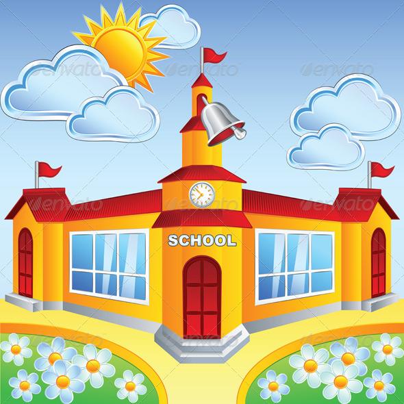 Vector Cartoon School Building