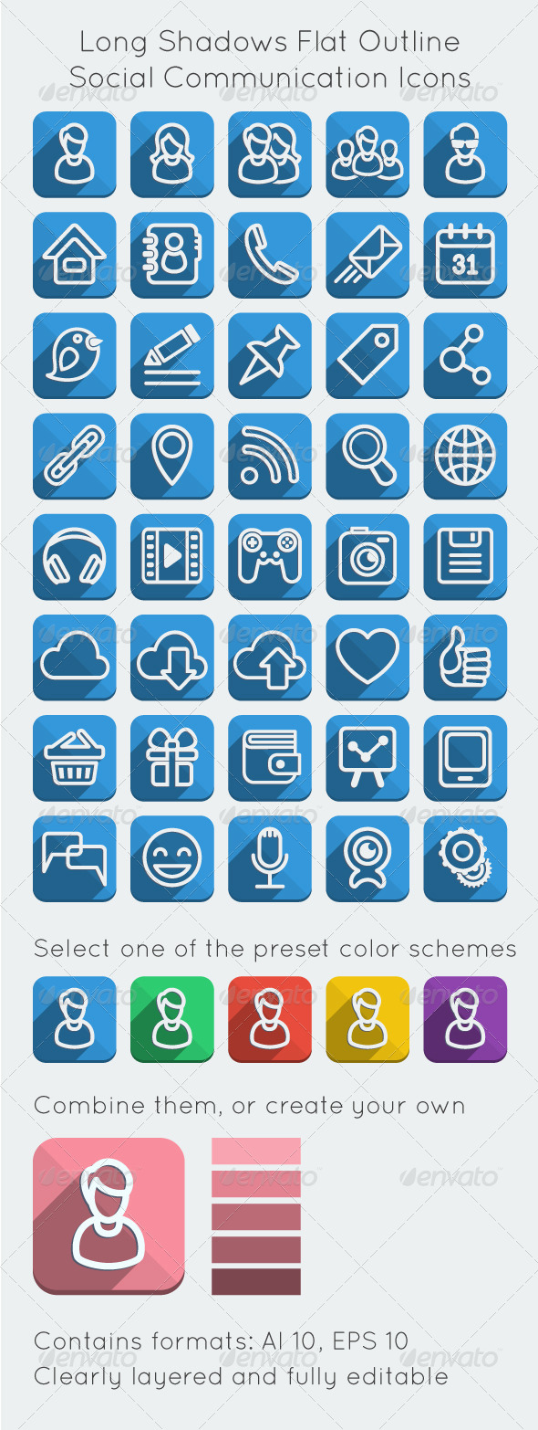 Long Shadows Flat Outline Social Network Icons