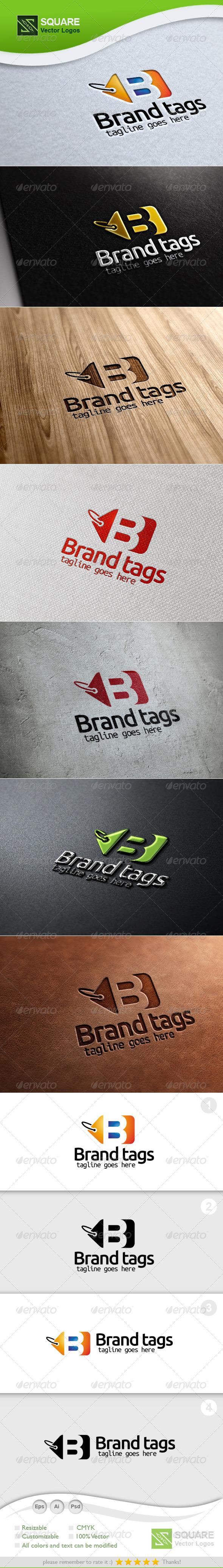 B, Tag Vector Logo Template