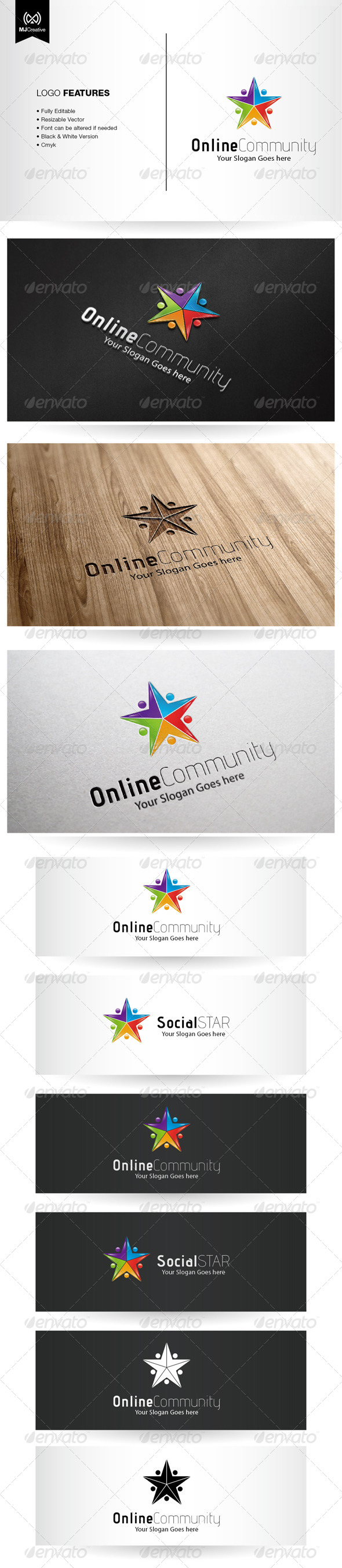 Colorful Star and Social Network Logo