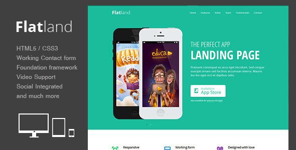 Flatland - Responsive HTML5 App landing page