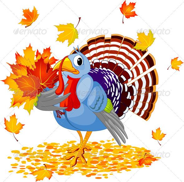 Cartoon Turkey with Autumn Bouquet