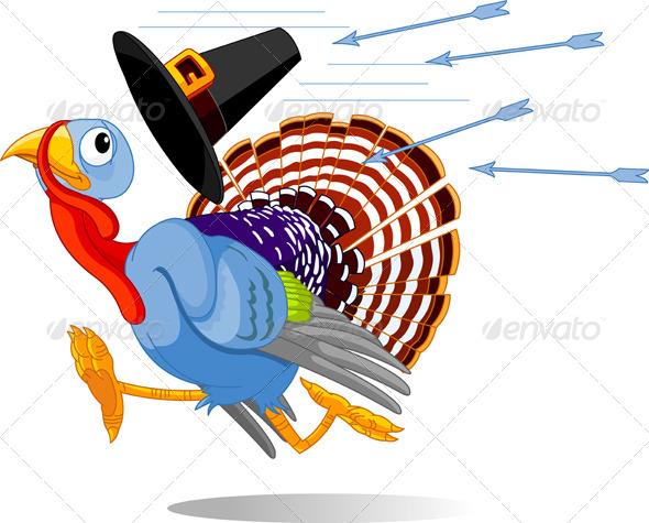Cartoon Turkey Escapes from the Arrows