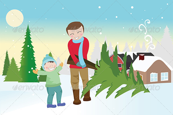 Father and Son Carrying a Christmas Tree