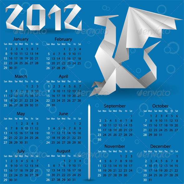 Calendar for 2012 with Origami Dragon