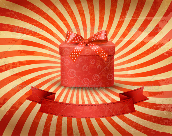 Holiday Background with Red Gift Ribbon with Box