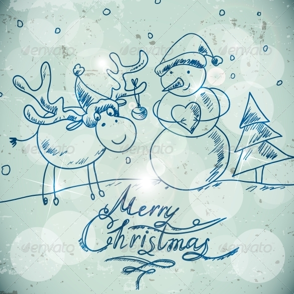 Christmas Greetings Card with a Snowman and Moose