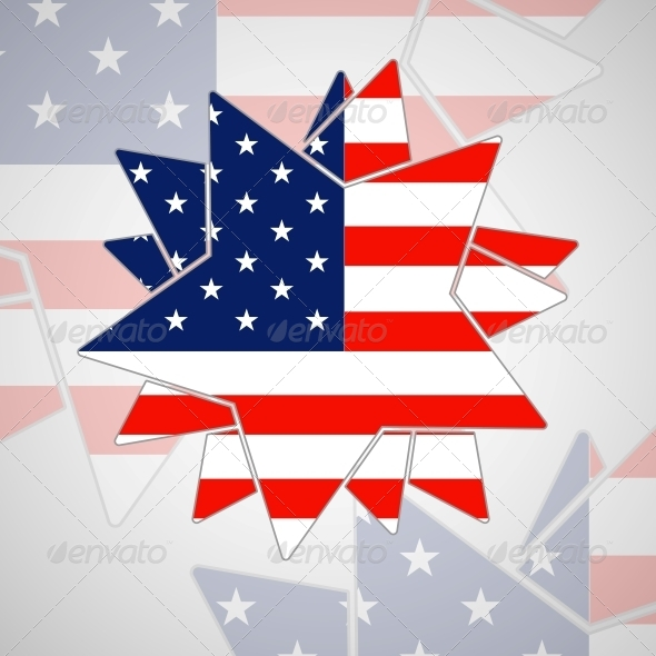 Abstract Star with American Flag