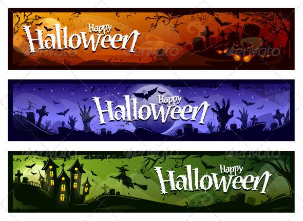 Cartoon Halloween Banners Set