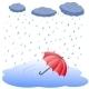 Umbrella in Puddle in Rain - GraphicRiver Item for Sale