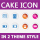 Cake Icon in 2 Theme Style   - GraphicRiver Item for Sale