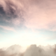 Flying Through Brown Pink Clouds In The Bright Blue Sky - VideoHive Item for Sale
