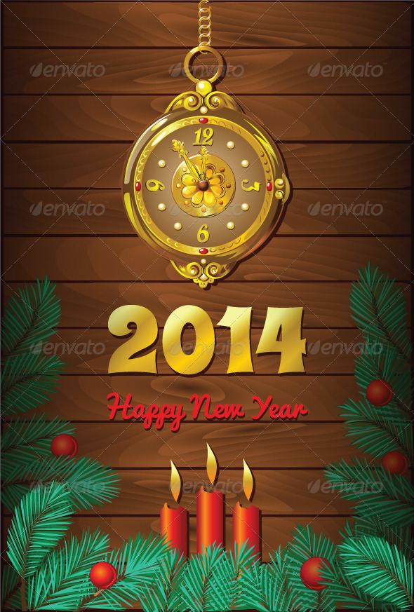 New Year Background with Retro Clock