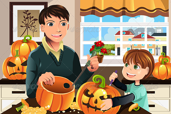 Father and Son Carving Pumpkins