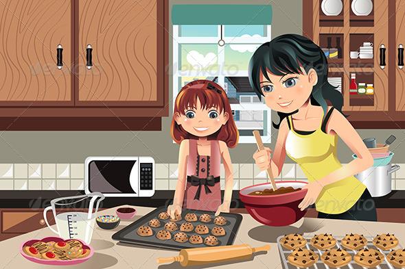 Mother Daughter Baking Cookies