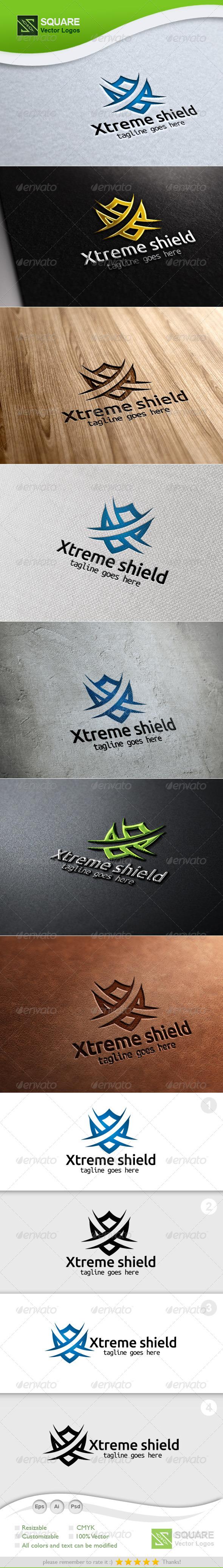 X, Shield Vector Logo Template