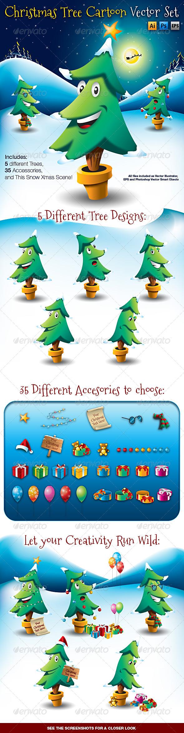 Christmas Tree Cartoon Vector Set