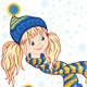 Little Girls in the Knitted Caps and Scarfs - GraphicRiver Item for Sale