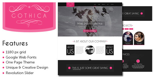 Gothica - A one Page WordPress Theme in Goth Style