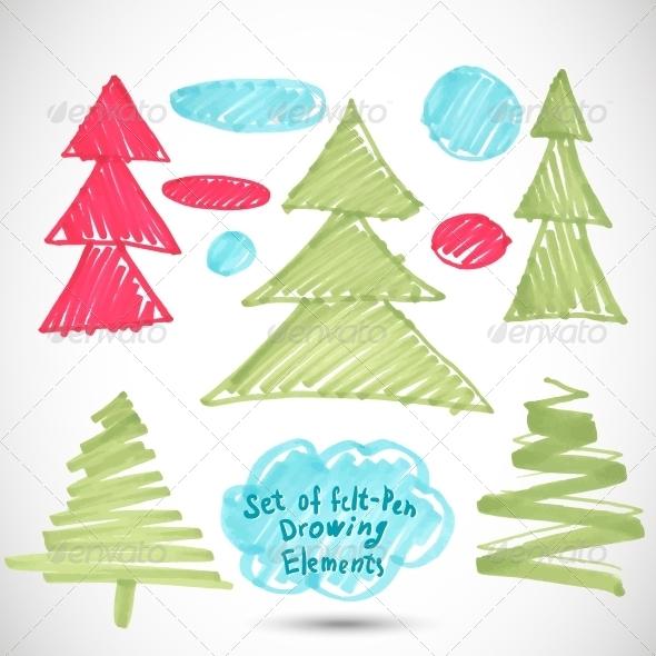 Christmas Tree. Doodle Set Felt Pen Tree