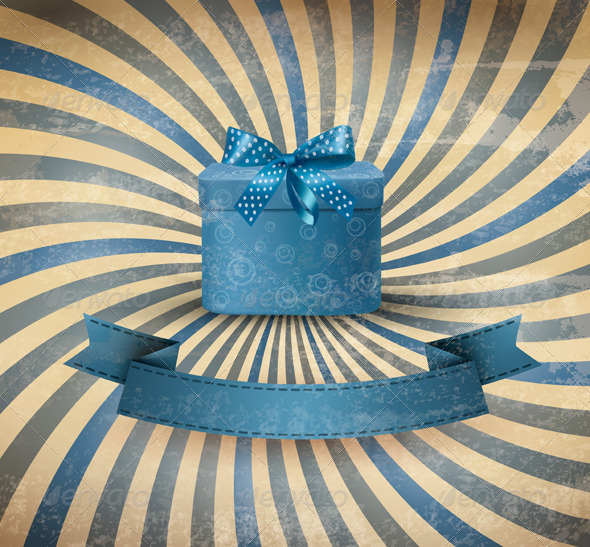 Holiday Background with Blue Gift Box