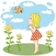 Girl and Bird Outdoors - GraphicRiver Item for Sale