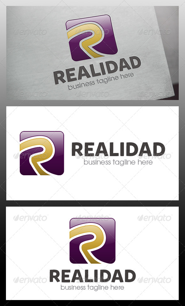 Realidad R Letter Logo Template