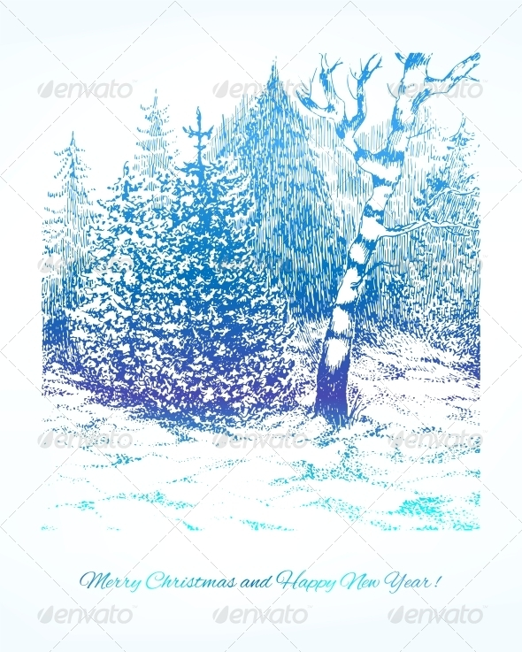 Merry Christmas Vector Winter Background
