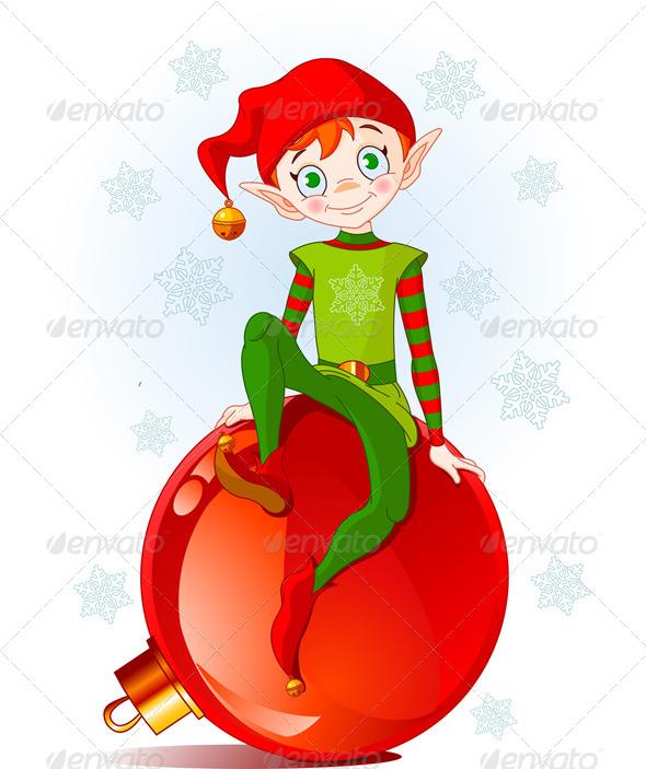 Christmas Elf Sitting on Ball