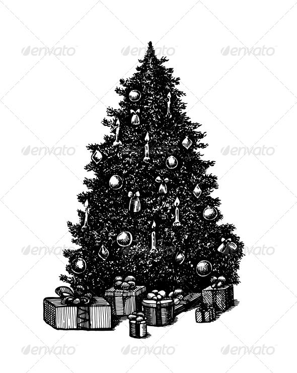 Vector Ink Pen Christmas Tree