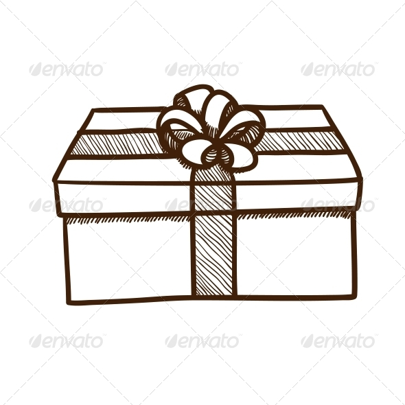 Present Box with Ribbon and Bow.