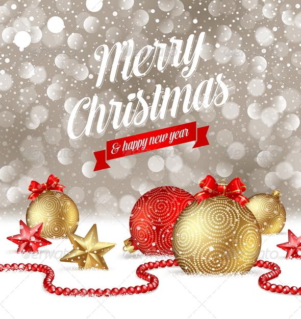 Christmas Greetings and Holidays Decor on Snow