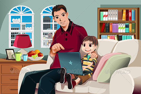 Father and Son Using Computer