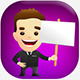 Smiling Businessman Character in a Black Suit Hold - GraphicRiver Item for Sale