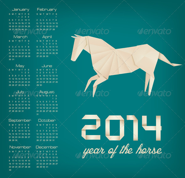 Retro Calendar for the New Year. Origami Horse