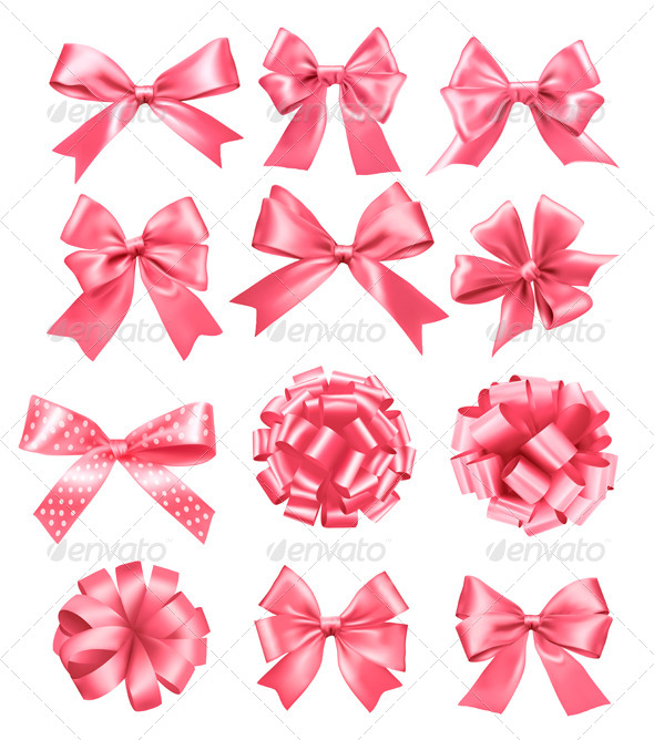 Big Set of Pink Gift Bows and Ribbons