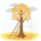 Autumn Tree with Yellowed Leaves and Stairs - GraphicRiver Item for Sale